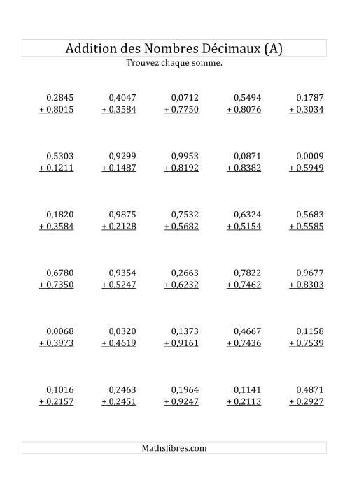 La Addition de Nombres Décimaux au Dix Millionième Près Avec O Avant le Nombre Décimal (variant de 0,0001 à 0,9999) (A) Fiche d'Exercices sur les Décimaux