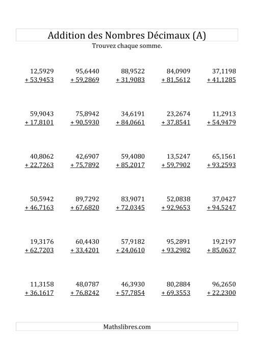 La Addition de Nombres Décimaux au Dix Millionième Près Avec 2 Chiffres Avant le Nombre Décimal (variant de 10,0001 à 99,9999) (A) Fiche d'Exercices sur les Décimaux