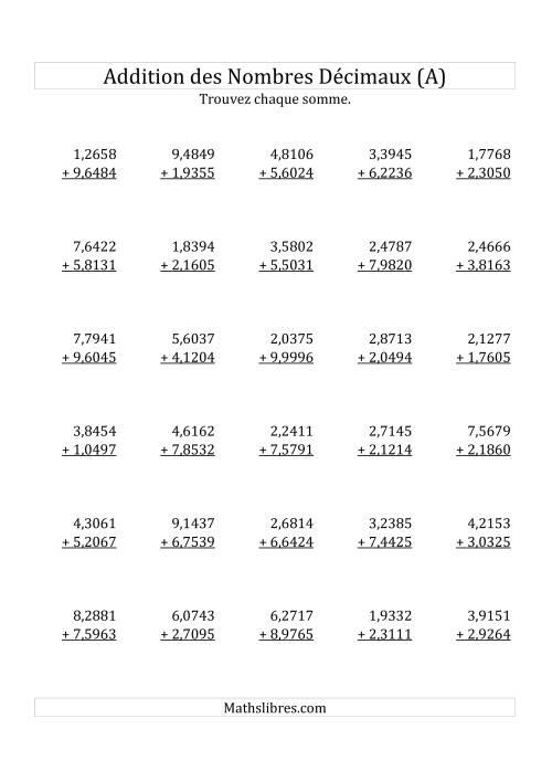 La Addition de Nombres Décimaux au Dix Millionième Près Avec 1 Chiffre Avant le Nombre Décimal (variant de 1,0001 à 9,9999) (A) Fiche d'Exercices sur les Décimaux