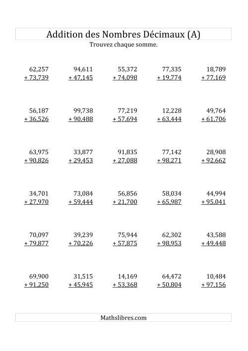 La Addition de Nombres Décimaux au Millième Près Avec 2 Chiffres Avant le Nombre Décimal (variant de 10,001 à 99,999) (A) Fiche d'Exercices sur les Décimaux