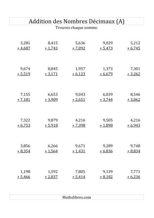 La Addition de Nombres Décimaux au Millième Près Avec 1 Chiffre Avant le Nombre Décimal (variant de 1,001 à 9999) (A) Fiche d'Exercices sur les Décimaux