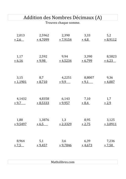 La Addition de Nombres Décimaux Mixtes Avec 1 Chiffre Avant le Nombre Décimal (A) Fiche d'Exercices sur les Décimaux