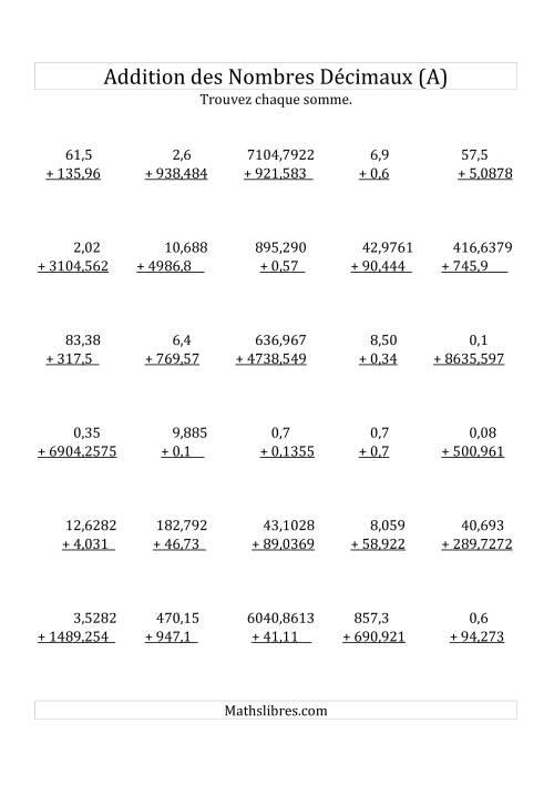 La Addition de Nombres Décimaux Mixtes Avec des Chiffres Mixtes Avant le Nombre Décimal (A) Fiche d'Exercices sur les Décimaux