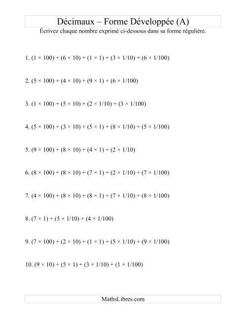 La Écriture de nombres décimaux de la forme développée à la forme régulière (3 avant la virgule; 2 après) (A) Fiche d'Exercices sur les Nombres Décimaux et Pourcentages