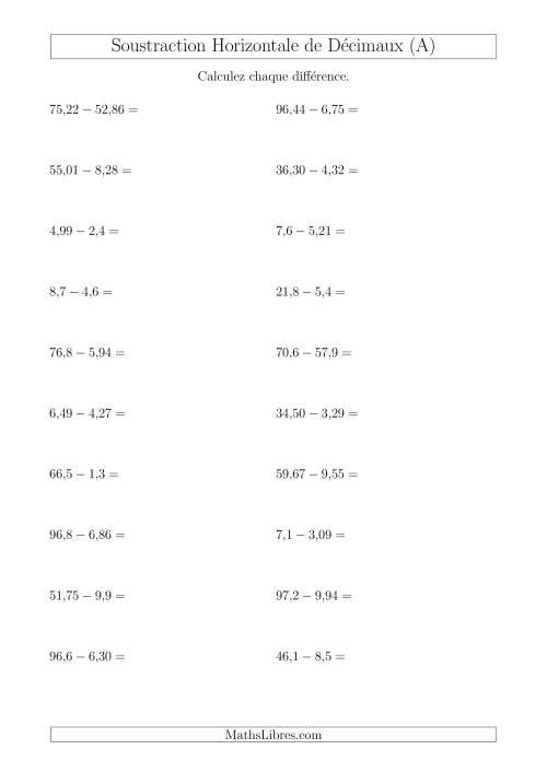 La Soustraction Horizontale de Nombres Décimaux Ayant Jusqu'à Deux Chiffres Avant et Après la Virgule (A) Fiche d'Exercices sur les Nombres Décimaux