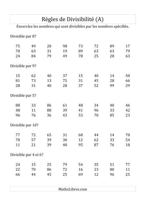 La Divisibilité par chiffres 2 à 10 -- 2-chiffres (A) Fiche d'Exercices de Division