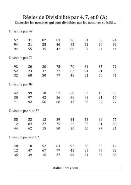 La Divisibilité par 4, 7 et 8 -- 2-chiffres (A) Fiche d'Exercices de Division