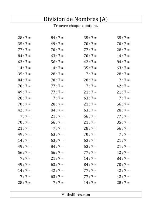 La Division de Nombres Par 7 (Quotient 1 - 12) (A) Fiche d'Exercices sur la Division