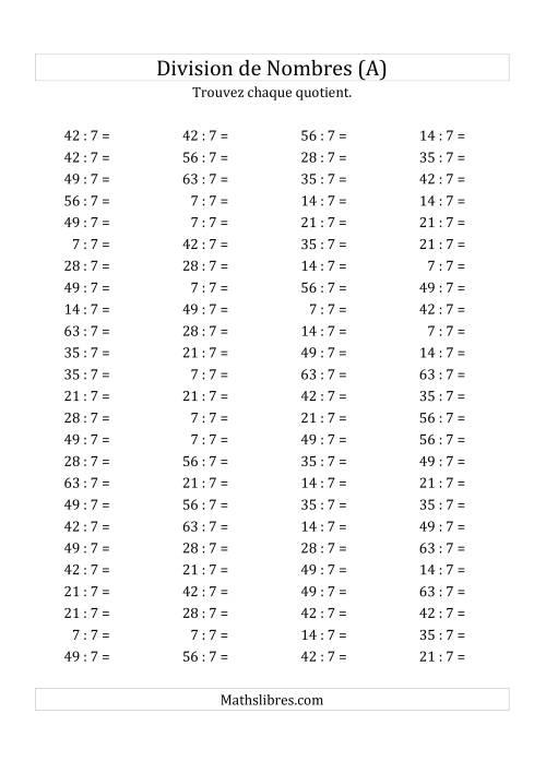 La Division de Nombres Par 7 (Quotient 1 - 9) (A) Fiche d'Exercices sur la Division