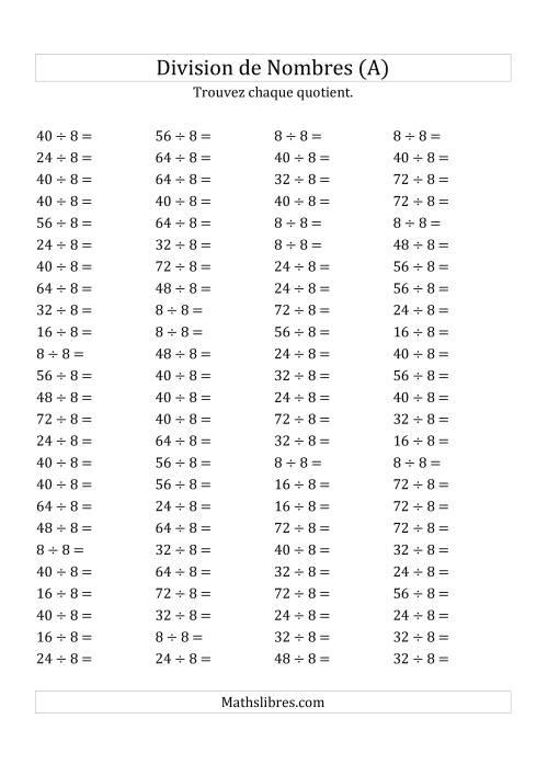 La Division de Nombres Par 8 (Quotient 1 - 9) (A) Fiche d'Exercices sur la Division