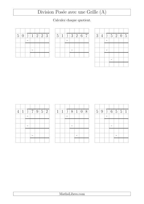 La Division Posée Prompte d'un Nombre à 4 Chiffres par un Nombre à 2 Chiffres Avec l'Aide d'une Grille et Quelques Restes (A) Fiche d'Exercices sur la Division