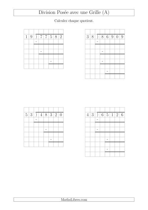 La Division Posée Prompte d'un Nombre à 5 Chiffres par un Nombre à 2 Chiffres Avec l'Aide d'une Grille et Quelques Restes (A) Fiche d'Exercices sur la Division