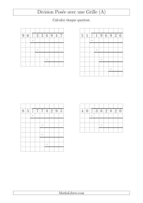 La Division Posée Prompte d'un Nombre à 6 Chiffres par un Nombre à 2 Chiffres Avec l'Aide d'une Grille et Quelques Restes (A) Fiche d'Exercices sur la Division