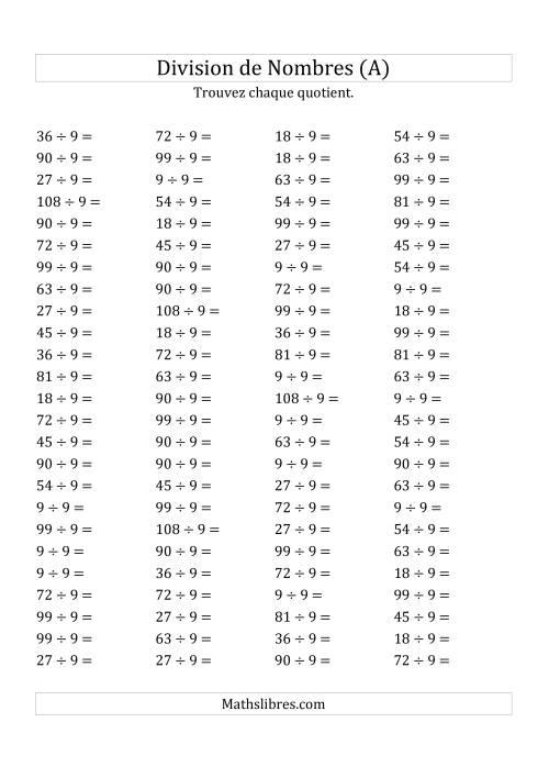 La Division de Nombres Par 9 (Quotient 1 - 12) (A) Fiche d'Exercices sur la Division