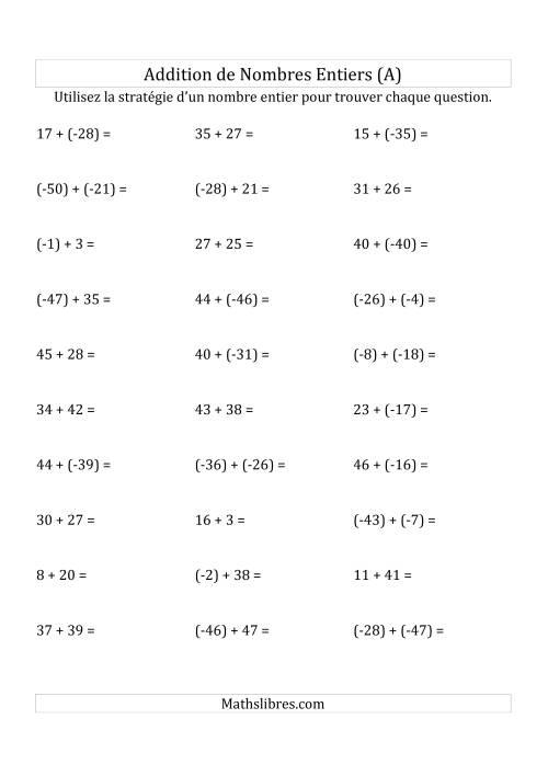 La Addition de Nombres Entiers de (-50) à (+50) (Parenthèses sur les Nombres Négatifs) (A) Fiche d'Exercices sur les Nombres Entiers
