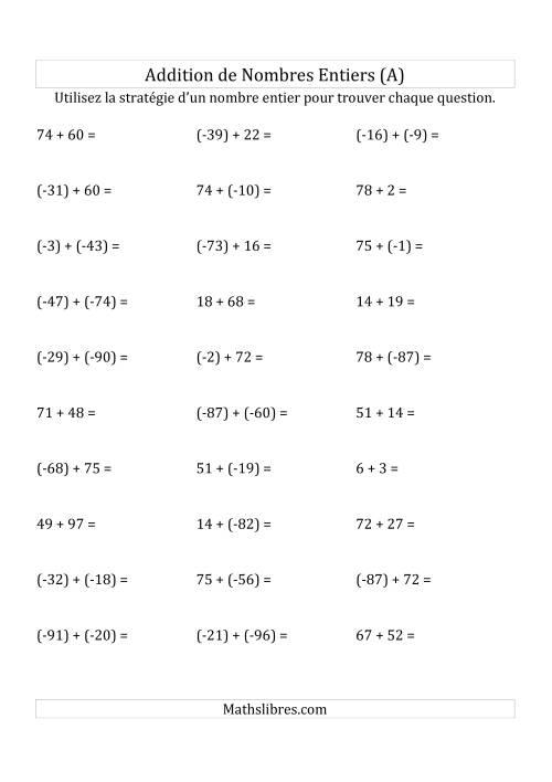 La Addition de Nombres Entiers de (-99) à (+99) (Parenthèses sur les Nombres Négatifs) (A) Fiche d'Exercices sur les Nombres Entiers