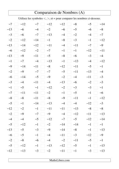 La Comparaison de nombres entiers négatifs (-15 à -1) (100 par page) (A) Fiche d'Exercices sur les Nombres Entiers
