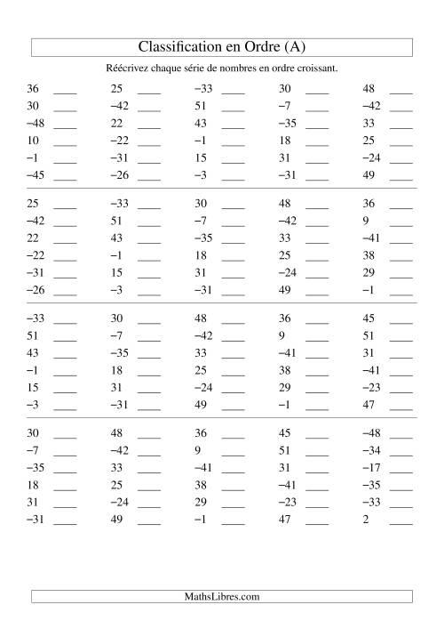 La Classification en ordre des nombres entiers (-50 à 50) (A) Fiche d'Exercices sur les Nombres Entiers