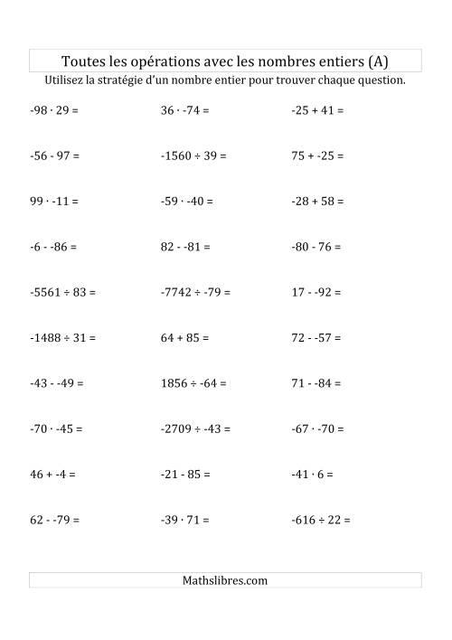 La Toutes les Opérations avec des Nombres Entiers de -99 à 99 (Sans les Parenthèses) (A) Fiche d'Exercices sur les Nombres Entiers