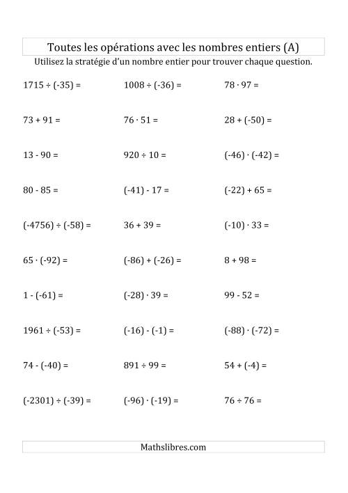 La Toutes les Opérations avec des Nombres Entiers de -99 à 99 (Parenthèses sur les Nombres Négatifs) (A) Fiche d'Exercices sur les Nombres Entiers