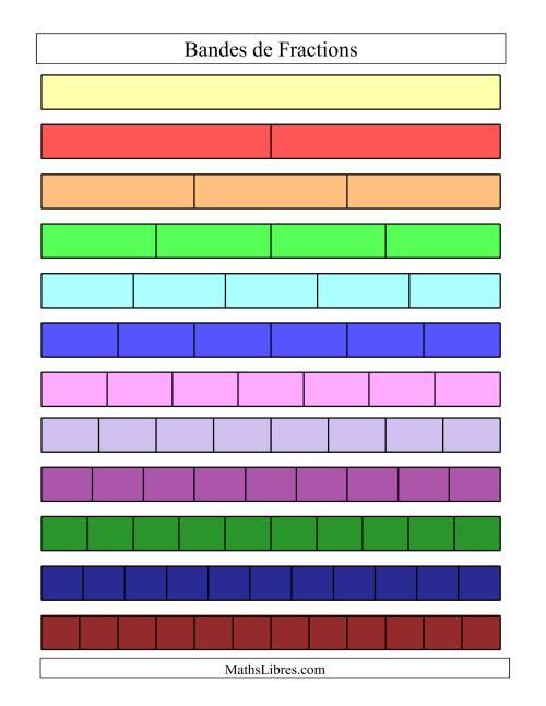 La Bandes de Fractions Colorées et Non-Étiquetées Fiche d'Exercices sur les Fractions