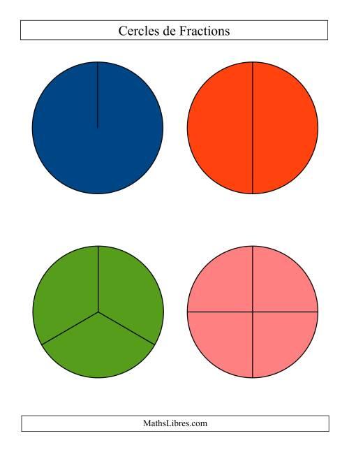 La Cercles de Fractions Larges Colorés et Non-Étiquetés Fiche d'Exercices sur les Fractions