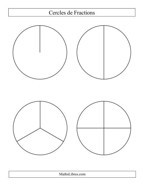 La Cercles de Fractions Larges Non-Étiquetés Fiche d'Exercices sur les Fractions
