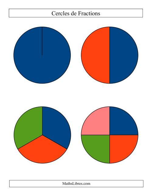 La Cercles de Fractions Multicolore Larges Non-Étiquetés Fiche d'Exercices sur les Fractions