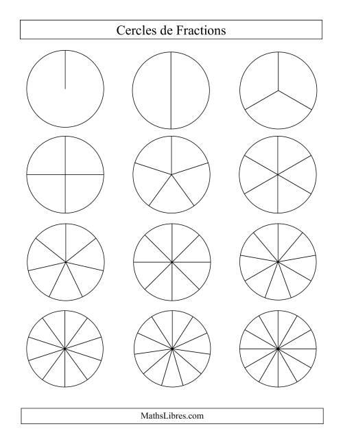 La Cercles de Fractions Non-Étiquetés Fiche d'Exercices sur les Fractions