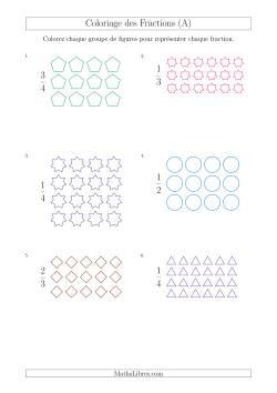 Coloriage de Groupes de Figures pour Représenter des Fractions (A)