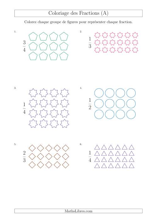 La Coloriage de Groupes de Figures pour Représenter des Fractions (A) Fiche d'Exercices sur les Fractions