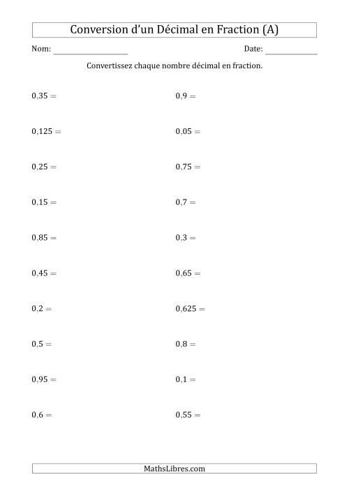 La Conversion de Nombres Décimaux en Fractions (A) Fiche d'Exercices sur les Fractions