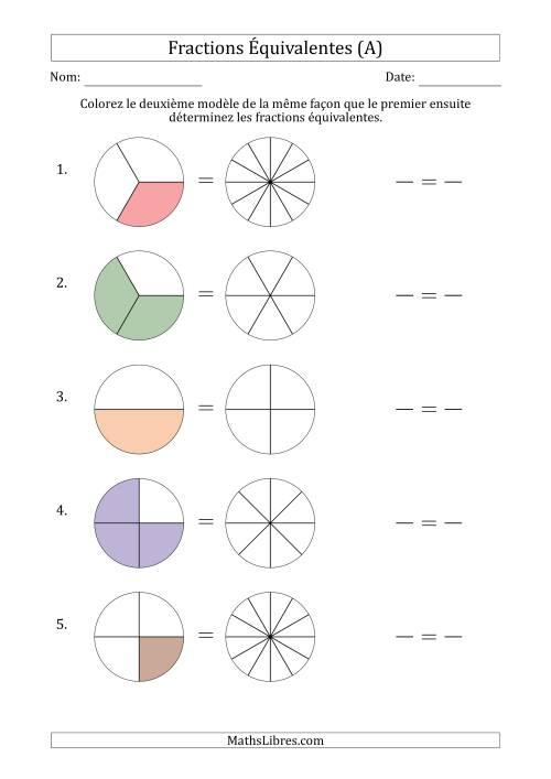 Fractions Équivalentes à l'Aide des Modèles et Avec une ...