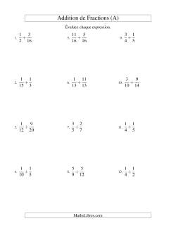 Addition de Fractions (Difficile) (A)