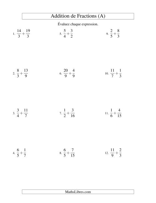 Addition de Fractions Impropres (Difficiles) (A)