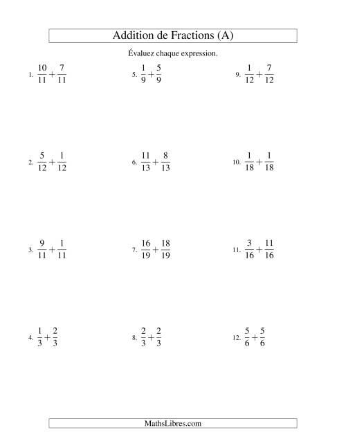 La Addition de Fractions Mixtes (A) Fiche d'Exercices sur les Fractions