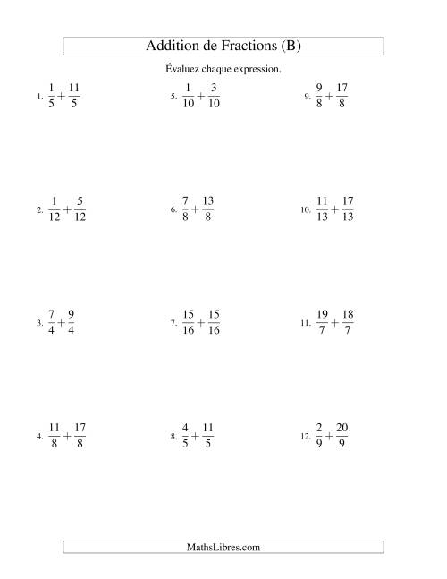 Addition de Fractions Impropres (B)