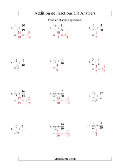 Addition de Fractions Impropres (F) page 2