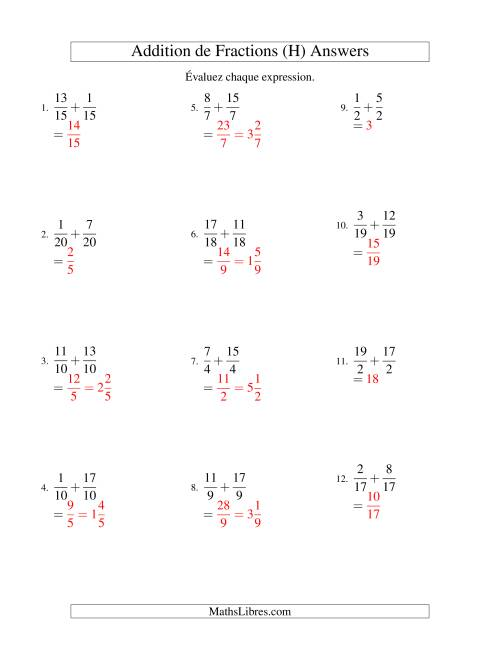 Addition de Fractions Impropres (H) page 2