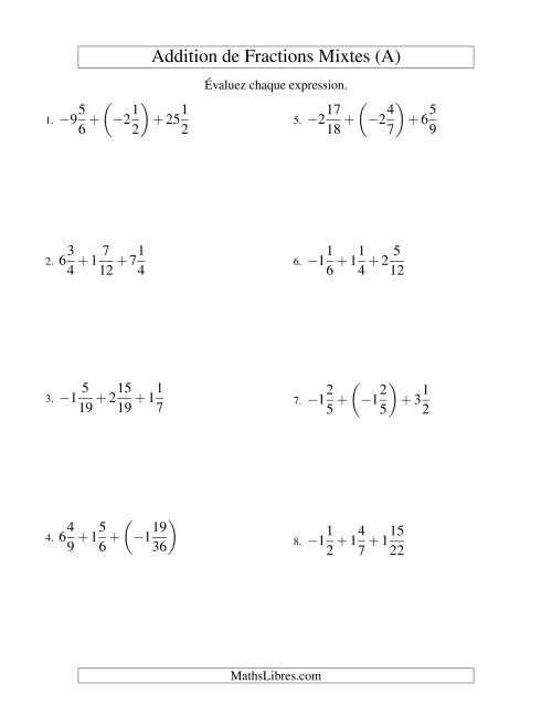 La Addition de Fractions Mixtes (Super défi) (A) Fiche d'Exercices sur les Fractions