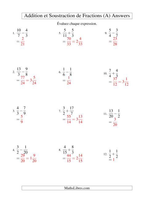 Addition et Soustraction de Fractions (A) page 2