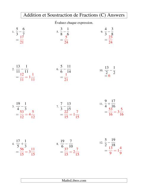 Addition et Soustraction de Fractions (C) page 2