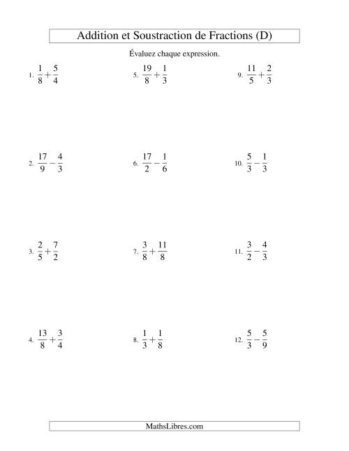 Addition et Soustraction de Fractions (D)