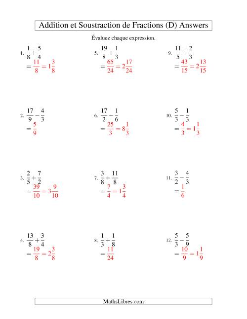 Addition et Soustraction de Fractions (D) page 2