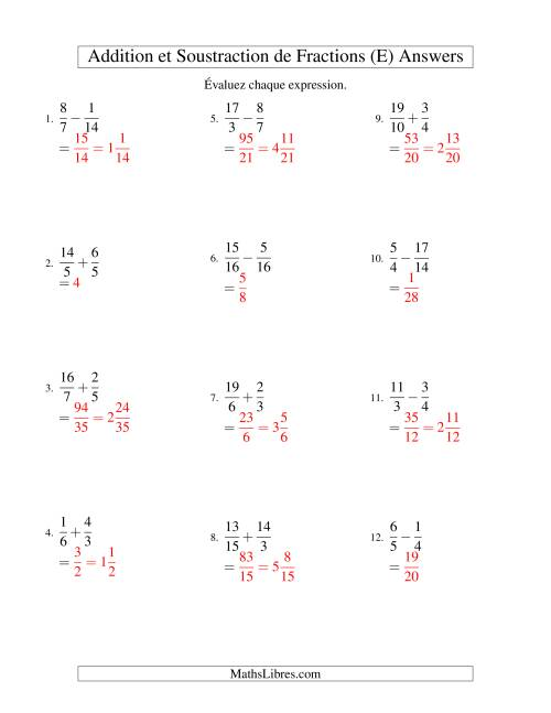 Addition et Soustraction de Fractions (E) page 2