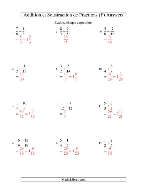 Addition et Soustraction de Fractions (F) page 2