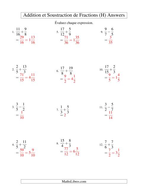 Addition et Soustraction de Fractions (H) page 2