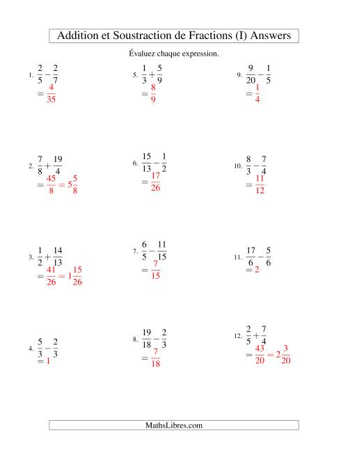 Addition et Soustraction de Fractions (I) page 2