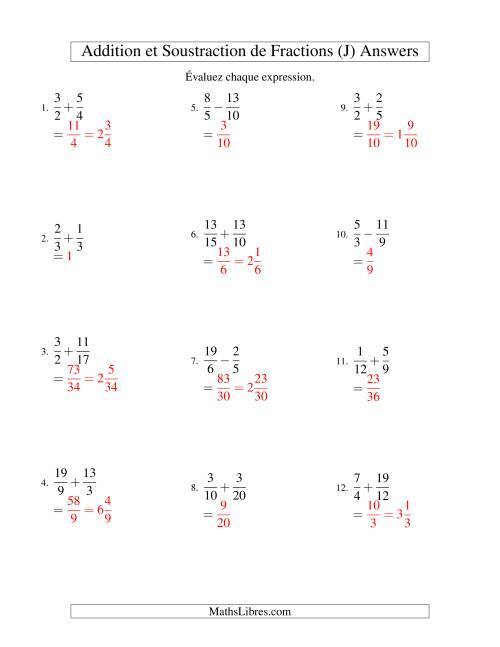 Addition et Soustraction de Fractions (J) page 2