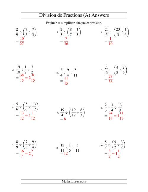 Division et Simplification de Fractions Impropres -- 3 fractions (A) page 2